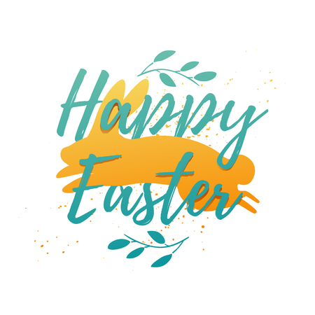 Design template banner for Happy Easter. Silhouettes of rabbit with simple floral, herb, plant decoration. Square card with logo for spring happy easter offer and sale. Vector 일러스트