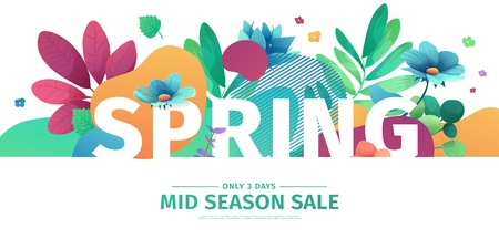 Template design banner for spring season sale. Promotion offer layout with plants, leaves and floral decoration.  Abstract shape with flowers frame. Vector 일러스트