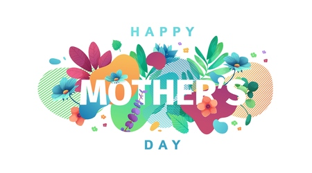 Modern Template design for Mom day banner. Promotion layout for mothers day offer with flower decoration. Simple illustration  floral blossom with abstract geometric shape for sale. Vector.