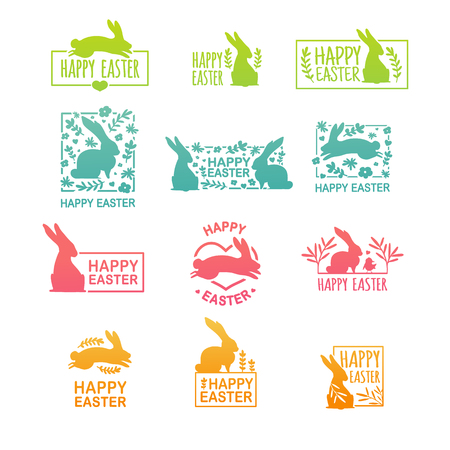 Set of  logo for the spring holiday of Easter. The design of label with a decor of flower, plant and rabbit with happy easter text.  Badge for offer and sale event. Vector.