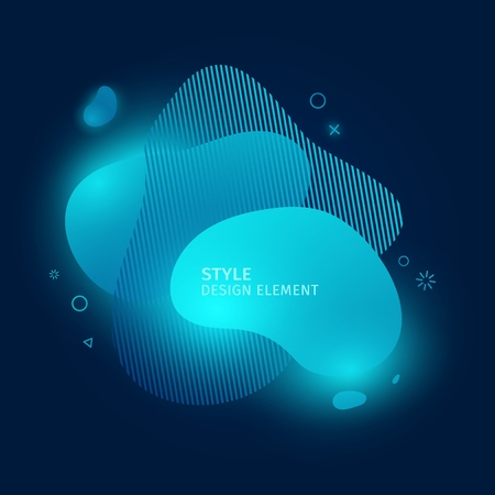 Abstract modern graphic elements. Dynamic blue neon colored cloud forms. Gradient 3d abstract banners with bright flowing liquid shapes. Template for the design of a biology logo, or flyer. Vector.