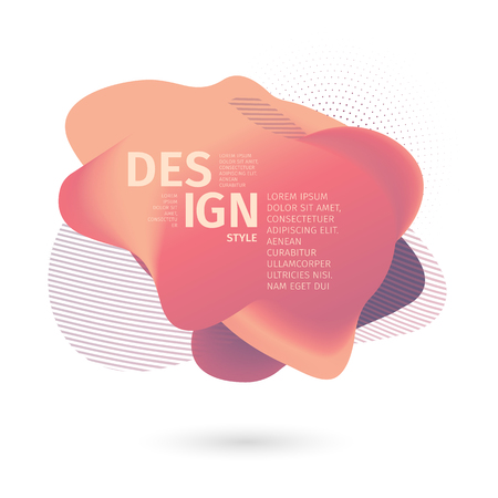 Unique abstract graphic elements. Banner with a gradient shape. Design template for presentation or flyer. Abstract forms with pastel dynamic composition. Minimal mesh background. Modern style vector.