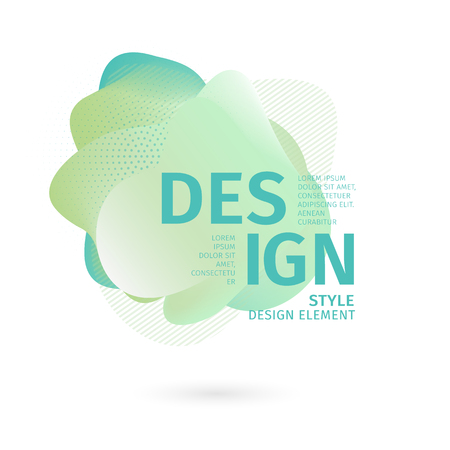 Unique abstract graphic elements. Banner with a gradient shape. Design template for presentation or flyer. Abstract forms with green dynamic composition. Minimal mesh background. Modern style vector.