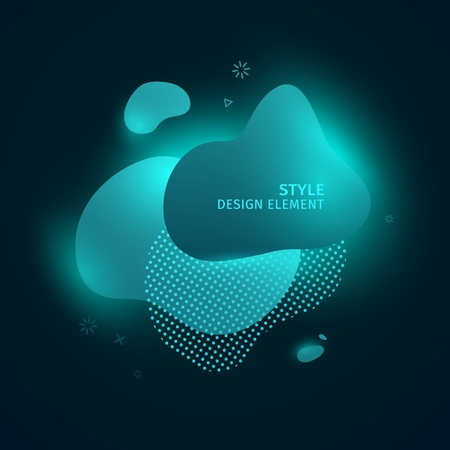 Abstract modern graphic elements. Dynamic green blue neon colored forms. Gradient 3d abstract banners with bright flowing liquid shapes. Template for the design of a logo and style. Vector. 스톡 콘텐츠 - 121164913