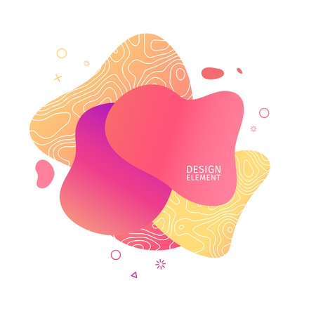 Abstract modern graphic elements. Dynamical pink color  form and line. Gradient abstract banner with plastic liquid shapes. Template for the design of a logo, flyer or presentation. Vector 일러스트