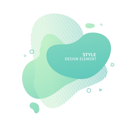Unique abstract graphic elements. Eco banner with a gradient shape. Design template for presentation or flyer. Abstract forms green dynamic composition. Minimal mesh background. Modern style vector.