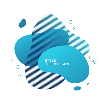 Abstract modern graphic elements. Dynamical blue color  form and line. Gradient abstract banner with plastic liquid shapes. Template for the design of a logo, flyer or presentation. Vector 스톡 콘텐츠 - 121164916