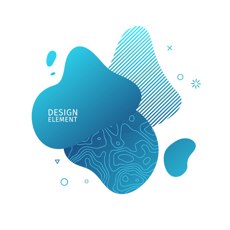 Abstract modern graphic elements. Dynamical blue color  form and line. Gradient abstract banner with plastic liquid shapes. Template for the design of a logo, flyer or presentation. Vector 스톡 콘텐츠 - 121164917