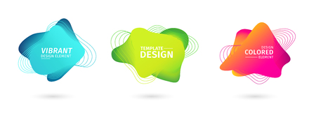 Set of abstract modern graphic elements. Dynamical bright luminous colored forms. Gradient abstract banners with flowing liquid shapes. Template for the design of a logo, flyer or presentation. Vector 스톡 콘텐츠 - 121164951