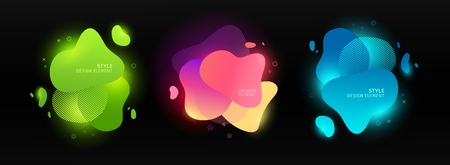 Set of abstract modern graphic elements. Dynamic color forms and line. Gradient neon abstract banner with bright flowing liquid shapes. Template for the design of a logo, flyer or presentation. Vector 스톡 콘텐츠 - 121164952