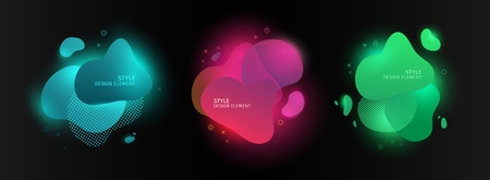 Set of abstract modern graphic elements. Dynamic color forms and line. Gradient neon abstract banner with bright flowing liquid shapes. Template for the design of a logo, flyer or presentation. Vector 스톡 콘텐츠 - 121164955