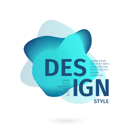 Unique abstract graphic elements. Banner with a gradient shape. Design template for presentation or flyer. Abstract forms with blue dynamic composition. Minimal mesh background. Modern style vector. 스톡 콘텐츠 - 121164958