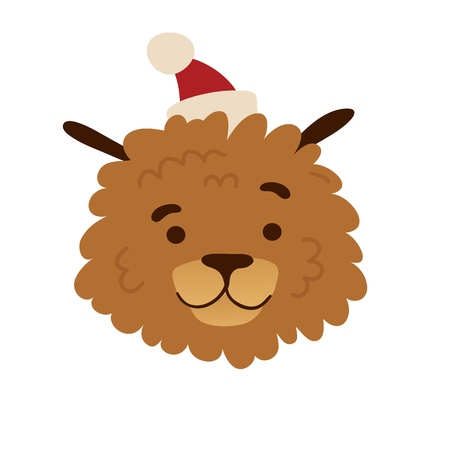 Cute avatar design with a  cartoon dog in a christmas cap. The poster design with a cheerful doggy for happy holiday. Beautiful print with a funny character puppy face for new year postcard. Vector. 스톡 콘텐츠 - 121164976