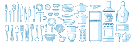 Big vector set of kitchen utensils in a linear style. A set of objects for the kitchen. Isolated elements of cutlery, kitchen appliances, dishes 스톡 콘텐츠 - 121164977