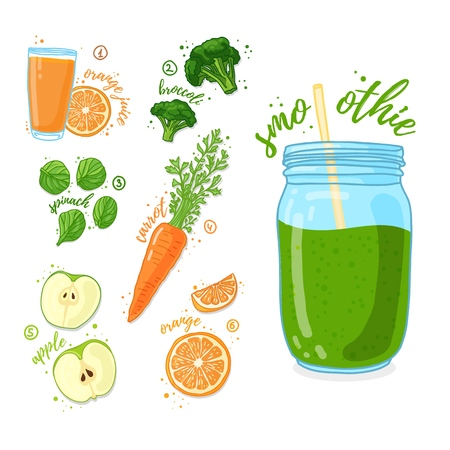 Green cocktail for healthy life. Smoothies with orange juice, broccoli, apple, carrot and spinach. Recipe vegetarian organic smoothie in jar. Template recipe card with detox drink for diet. Vector. 스톡 콘텐츠 - 121164978