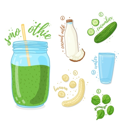 Green cocktail for healthy life. Smoothies with cucumber, coconut milk, banana and spinach. Recipe vegetarian organic smoothie in a glass jar. Template recipe card with detox drink for diet. Vector 스톡 콘텐츠 - 121164979