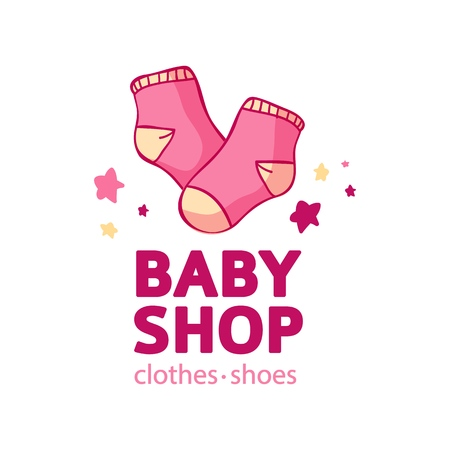 Set templae design color logo for baby store. Symbol, label and badge for children shop with element newborn stuff. Vector 스톡 콘텐츠 - 121164980