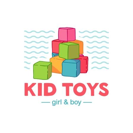 Définir le logo de couleur de conception de templae pour le magasin de bébé. Symbole, étiquette et badge pour les enfants achètent avec des éléments nouveau-nés. Vecteur Logo