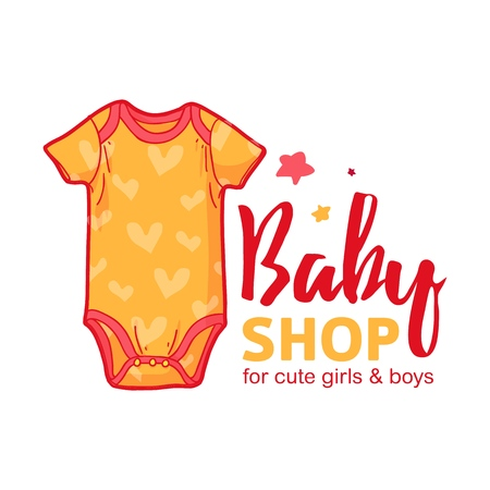 Set templae design color logo for baby store. Symbol, label and badge for children shop with element newborn stuff. Vector 일러스트