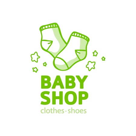 Templae design line logo for baby store. Symbol, label and badge for children shop with element newborn stuff and kids toys. Vector 스톡 콘텐츠 - 121164983