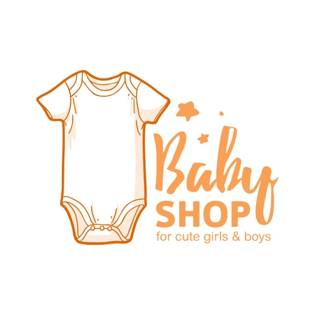 Templae design line logo for baby store. Symbol, label and badge for children shop with element newborn stuff and kids toys. Vector 스톡 콘텐츠 - 121164988