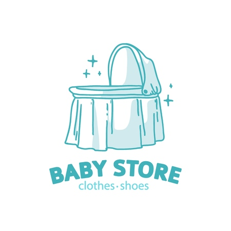 Templae design line logo for baby store. Symbol, label and badge for children shop with element newborn stuff and kids toys. Vector 스톡 콘텐츠 - 121164989