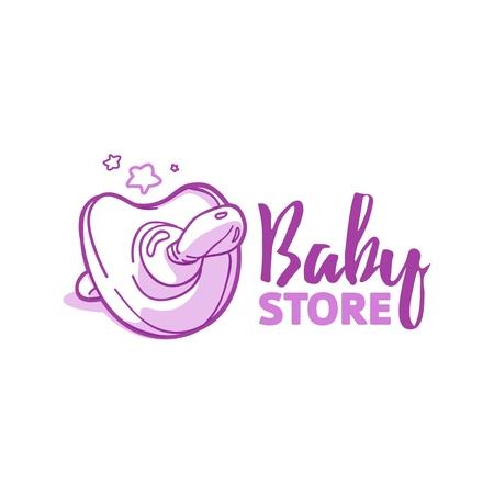 Logo de la ligne de conception Templae pour magasin de bébé. Symbole, étiquette et badge pour boutique pour enfants avec éléments pour nouveau-nés et jouets pour enfants. Vecteur Logo