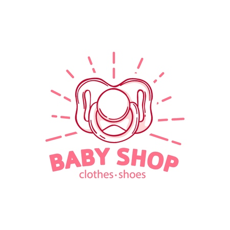 Templae design line logo for baby store. Symbol, label and badge for children shop with element newborn stuff and kids toys. Vector 스톡 콘텐츠 - 121164991