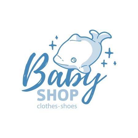 Logo de la ligne de conception Templae pour magasin de bébé. Symbole, étiquette et badge pour boutique pour enfants avec éléments pour nouveau-nés et jouets pour enfants. Vecteur