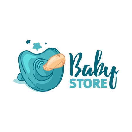 Set templae design color logo for baby store. Symbol, label and badge for children shop with element newborn stuff. Vector Ilustracja