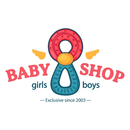 Set templae design color logo for baby store. Symbol, label and badge for children shop with element newborn stuff. Vector 스톡 콘텐츠 - 121164996