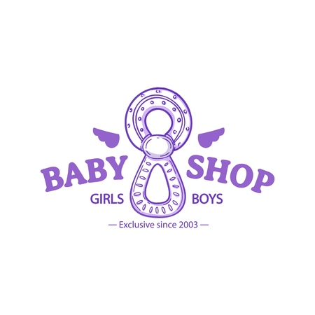 Templae design line logo for baby store. Symbol, label and badge for children shop with element newborn stuff and kids toys. Vector