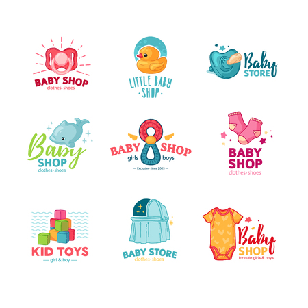 Set templae design color logo for baby store. Symbol, label and badge for children shop with element newborn stuff. Vector 스톡 콘텐츠 - 121164999