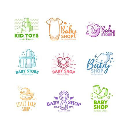 Stellen Sie das Logo der Templae-Designlinie für den Babyladen ein. Symbol, Etikett und Abzeichen für Kindershop mit Element Neugeborenen Sachen. Vektor