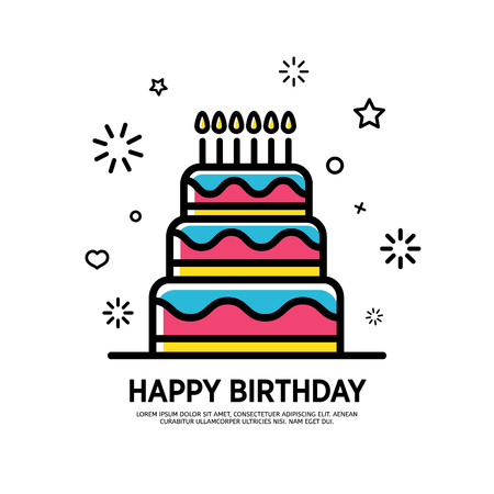 Design banner for happy birthday in flat style. Postcrd for Happy Birthday sale with line and color cake. Vector.