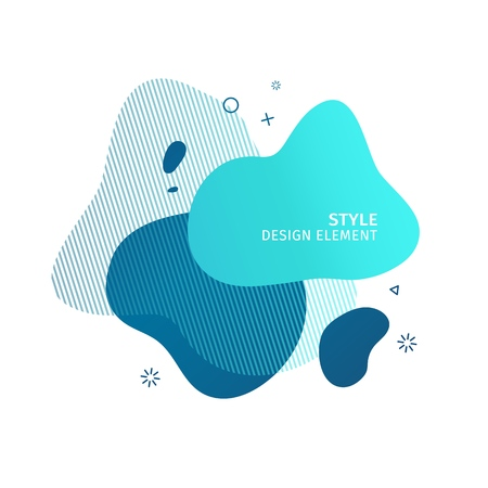 Abstract modern graphic elements. Dynamical blue color  form and line. Gradient abstract banner with plastic liquid shapes. Template for the design of a logo, flyer or presentation. Vector. 스톡 콘텐츠 - 121165001