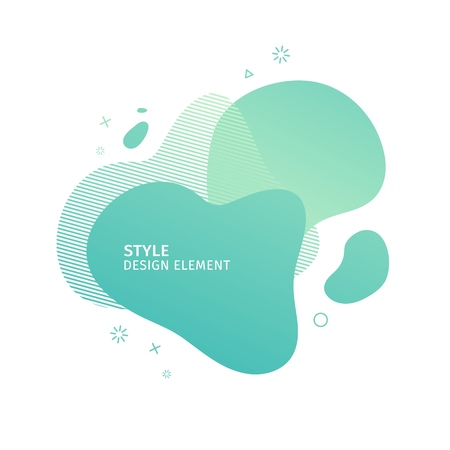 Unique abstract graphic elements. Eco banner with a gradient shape. Design template for presentation or flyer. Abstract forms green dynamic composition. Minimal mesh background. Modern style vector 스톡 콘텐츠 - 121165002