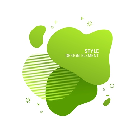 Unique abstract graphic elements. Eco banner with a gradient shape. Design template for presentation or flyer. Abstract forms green dynamic composition. Minimal mesh background. Modern style vector 일러스트