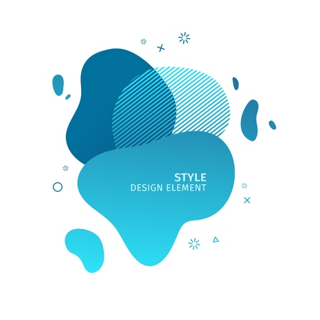 Abstract modern graphic elements. Dynamical blue color  form and line. Gradient abstract banner with plastic liquid shapes. Template for the design of a logo, flyer or presentation. Vector.