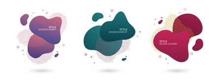 Set of abstract modern graphic elements. Dynamical colored  forms and line. Gradient abstract banners with flowing liquid shapes. Template for the design of a logo, flyer or presentation. Vector. 스톡 콘텐츠 - 121165006