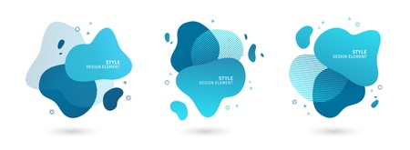 Set of abstract modern graphic elements. Dynamical blue forms and line. Gradient abstract banners with flowing liquid shapes. Template for the design of a logo, flyer or presentation. Vector. 스톡 콘텐츠 - 121165007
