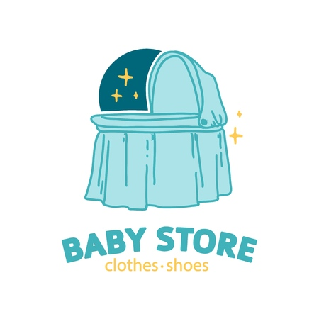 Set templae design color logo for baby store. Symbol, label and badge for children shop with element newborn stuff. Vector 스톡 콘텐츠 - 121165009