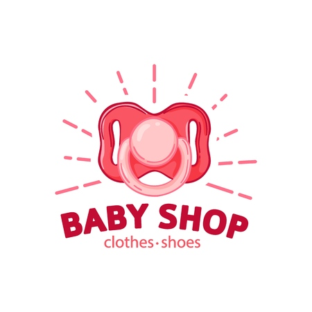 Set templae design color logo for baby store. Symbol, label and badge for children shop with element newborn stuff. Vector 스톡 콘텐츠 - 121165010