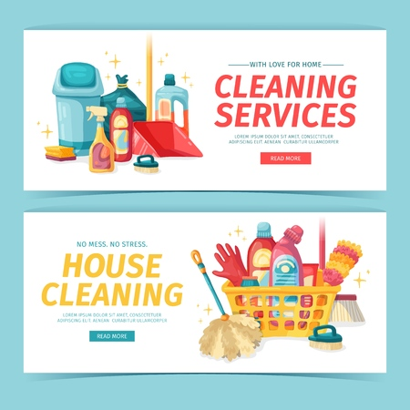 Set design banner House cleaning with cleaning products. Cartoon illustration household chemicals. Temlate for flyer clean up service. Chemicals bottle. Vector 스톡 콘텐츠 - 121165011