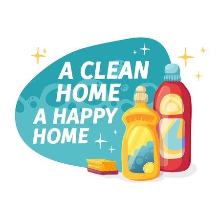 Template banner with chemical battle product for house cleaning. Layout for Cleaning service with household chemicals.  Dishwashing liquid Goods for  home. Vector. 스톡 콘텐츠 - 121165012
