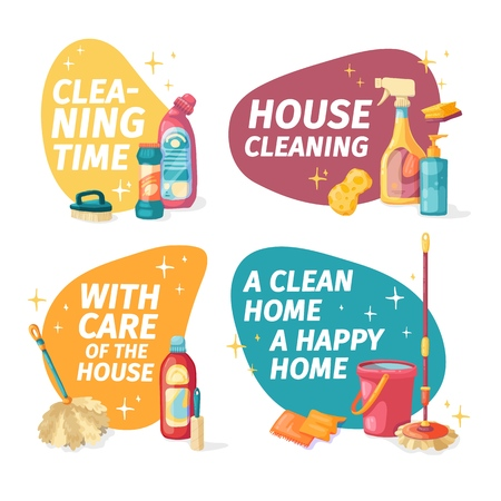 Set design banner House cleaning with cleaning products. Cartoon illustration household chemicals. Temlate for flyer clean up service. Chemicals bottle for floor and windows. Vector