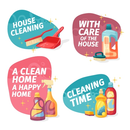 Set design banner House cleaning with cleaning products. Cartoon illustration household chemicals. Temlate for flyer clean up service. Chemicals bottle for floor and windows. Vector 스톡 콘텐츠 - 121165017