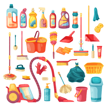 Household set and cleaning supplies icons. Cartoon vector illustration with cleaning products, household chemicals and  goods for home. Vector. 스톡 콘텐츠 - 121165019