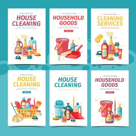 Set design banner House cleaning with cleaning products. Cartoon illustration household chemicals. Temlate for flyer and card clean up service. Chemicals bottle. Vector. 스톡 콘텐츠 - 121165020