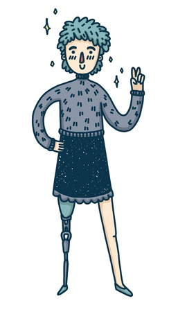 Design banner with a young girl disabled. Cute cartoon woman with prosthetic leg. A happy character for a body positive poster or banner.  Cute female model with blue hair. Vector 스톡 콘텐츠 - 121165021